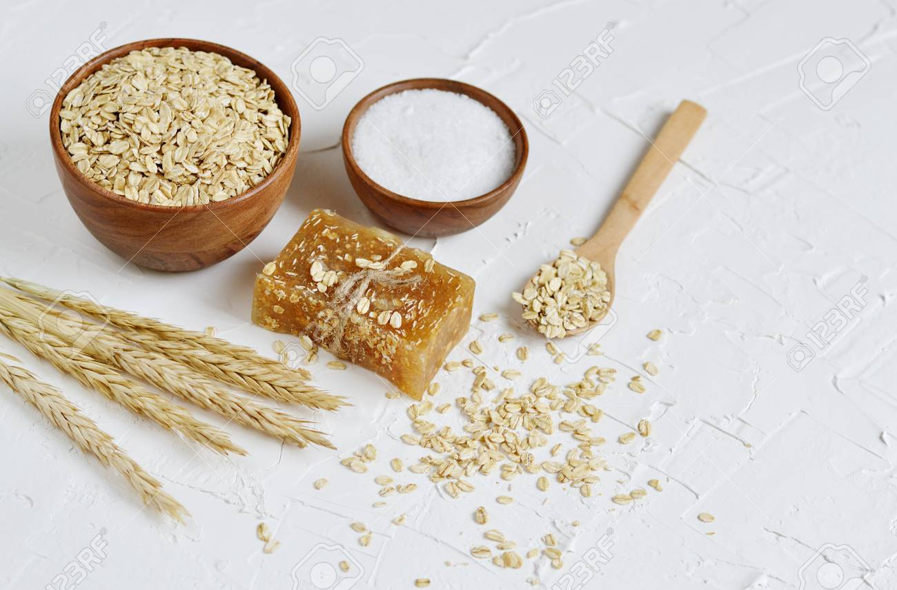 Natural Ingredients for Homemade Oatmeal Body Face Scrub Soap Beauty Concept Organic Eco Healthy Lifestyle Stock