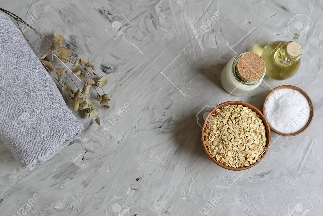 Natural Ingredients for Homemade Oatmeal Milk Body Face Scrub Beauty Concept Organic Healthy Lifestyle Stock Photo