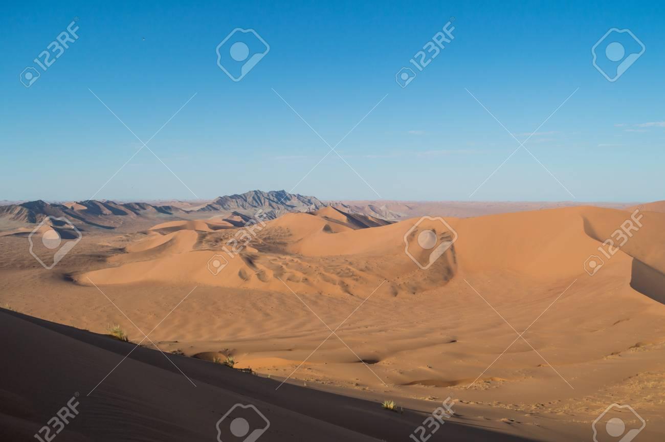 Climbing Big Daddy Dune View Onto Desert Landscape Sossusvlei