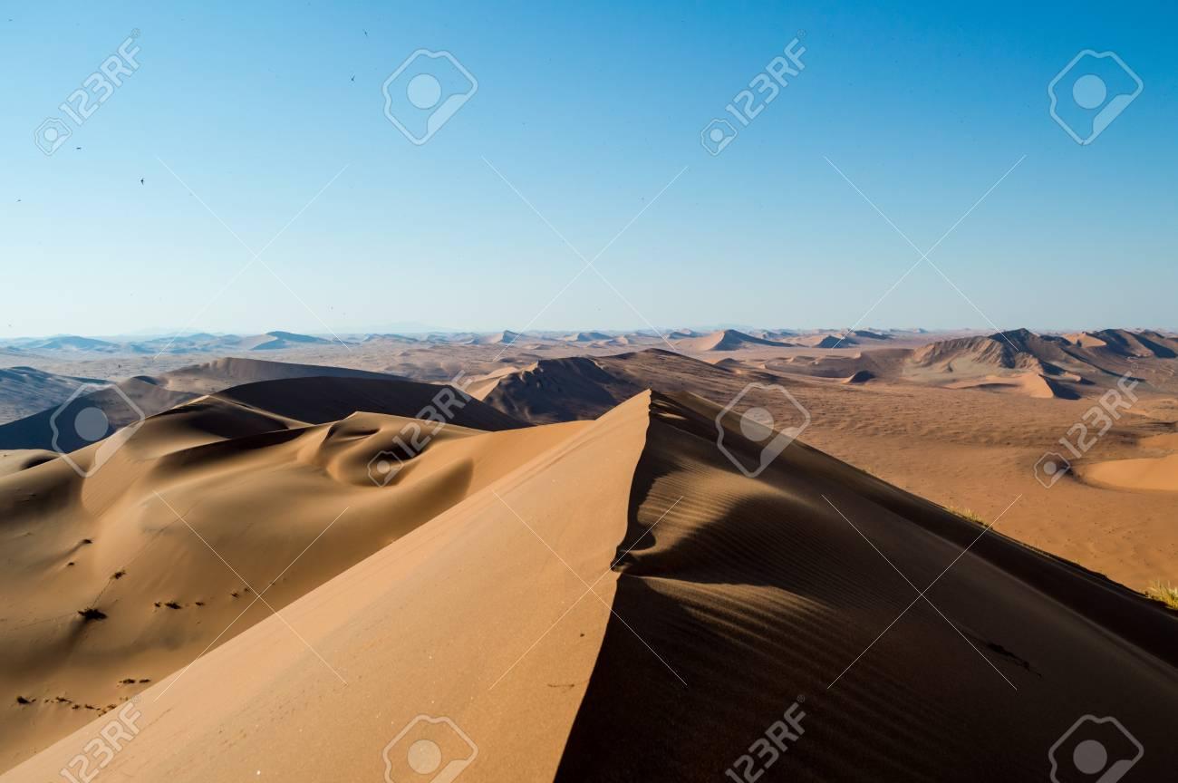 Summit Of Big Daddy Dune View Onto Desert Landscape Sossusvlei