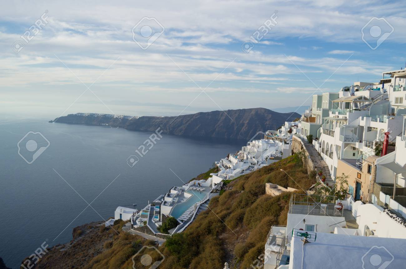 . Whitewashed Houses on Cliffs with Sea View and Pools in Imerovigli