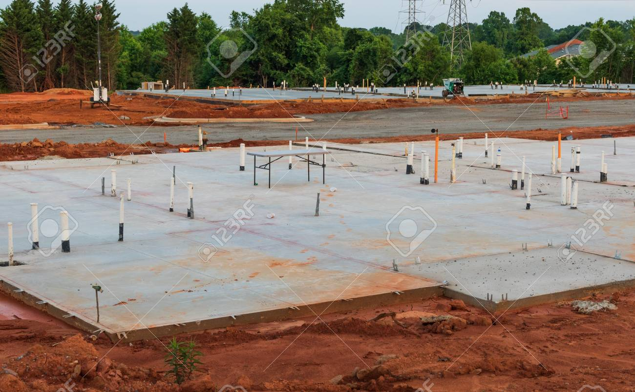 HICKORY, NC, USA-12 MAY 18: Construction begins and concrete