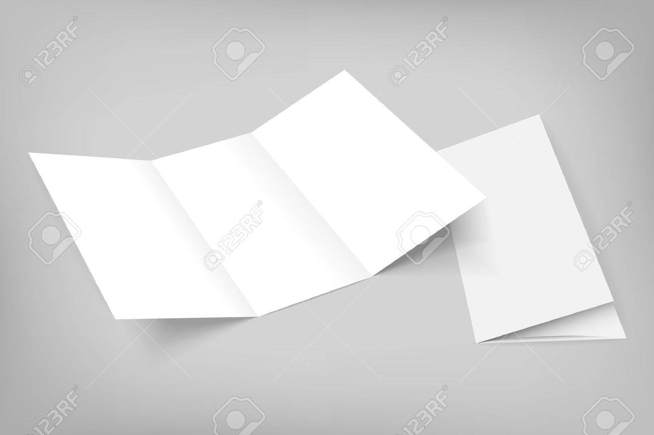 blank mockup tri fold paper opened flyer on gray background with