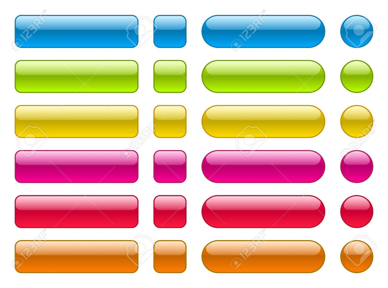 Set of blank colorful buttons. Colorful collection in different shape. - 36969558