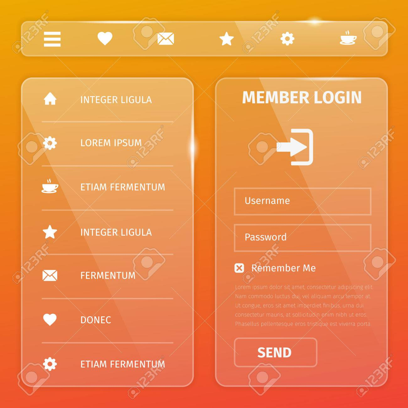 Transparent Mobile And Web Ui Template Design Vector Eps10