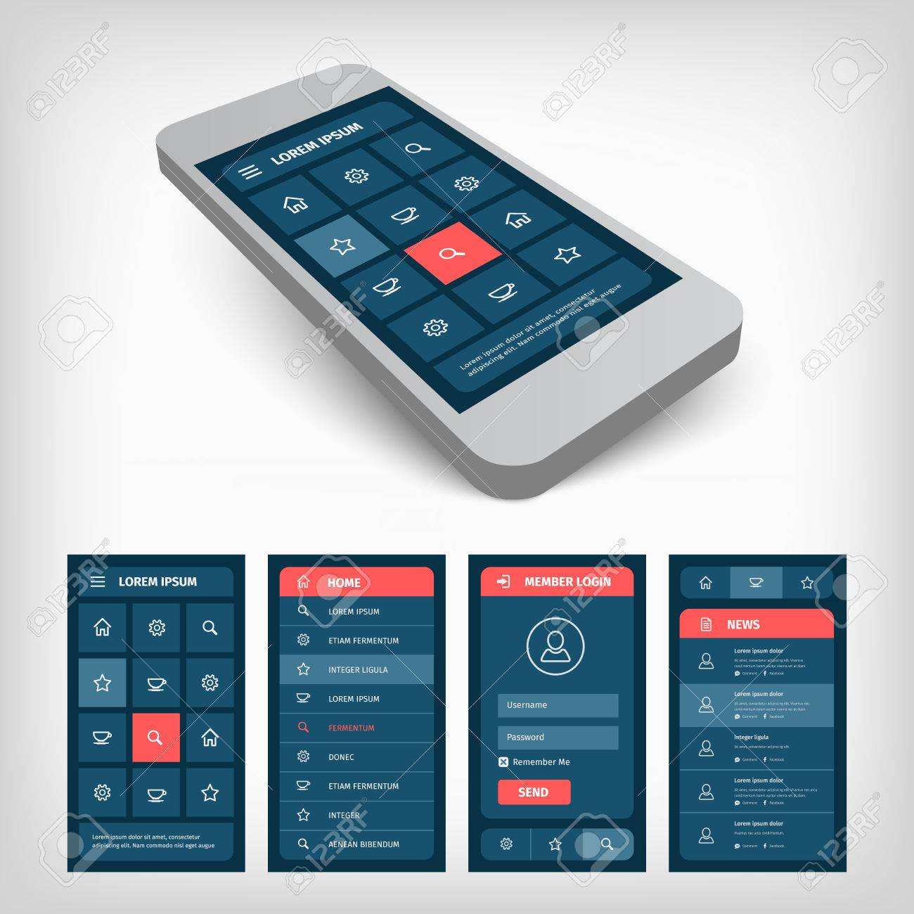 Mobile Phone With User Interface Design Template 3d Vector Illustration Royalty Free Cliparts Vectors And Stock Illustration Image 37835963