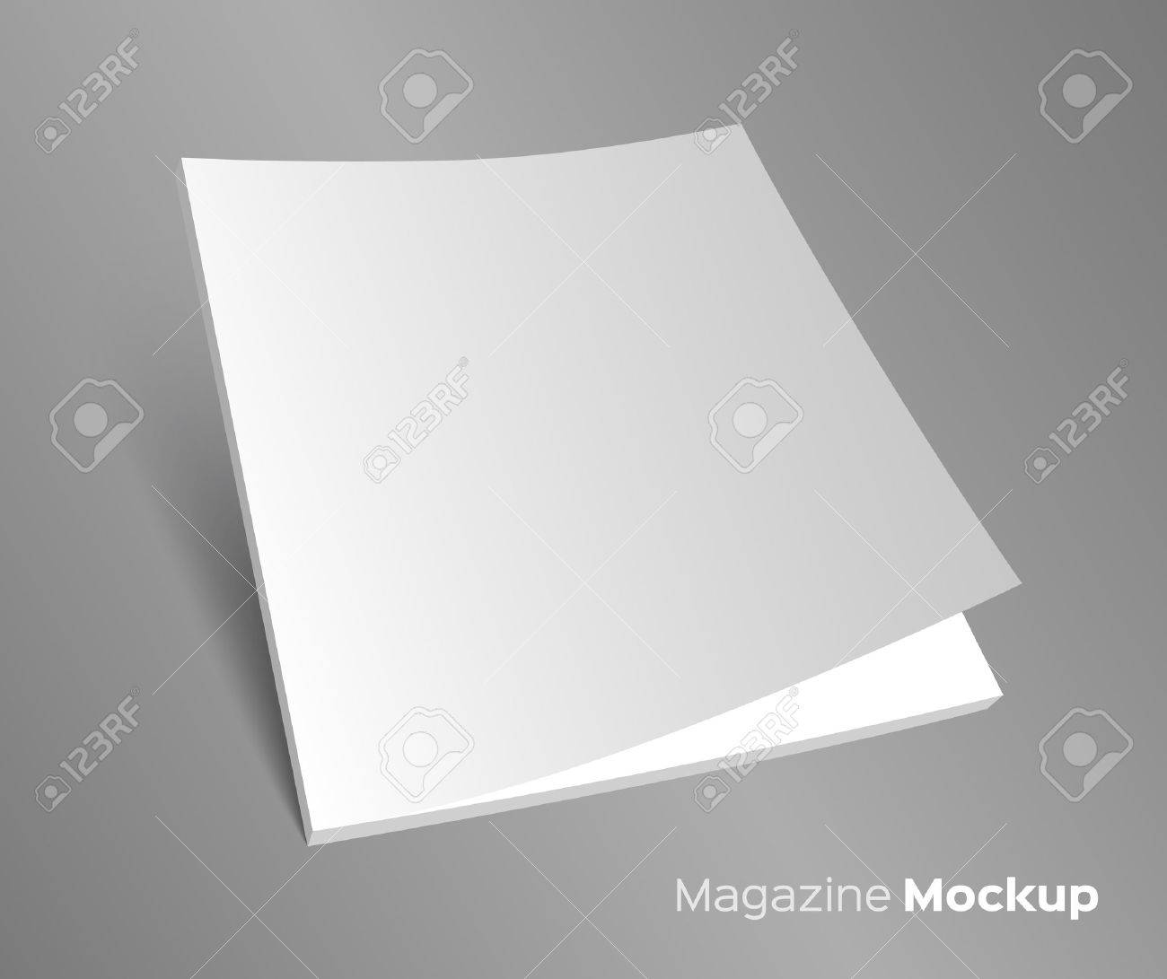 3D blank brochure cover. Realistic vector EPS10 illustration. Gray background. - 38816211