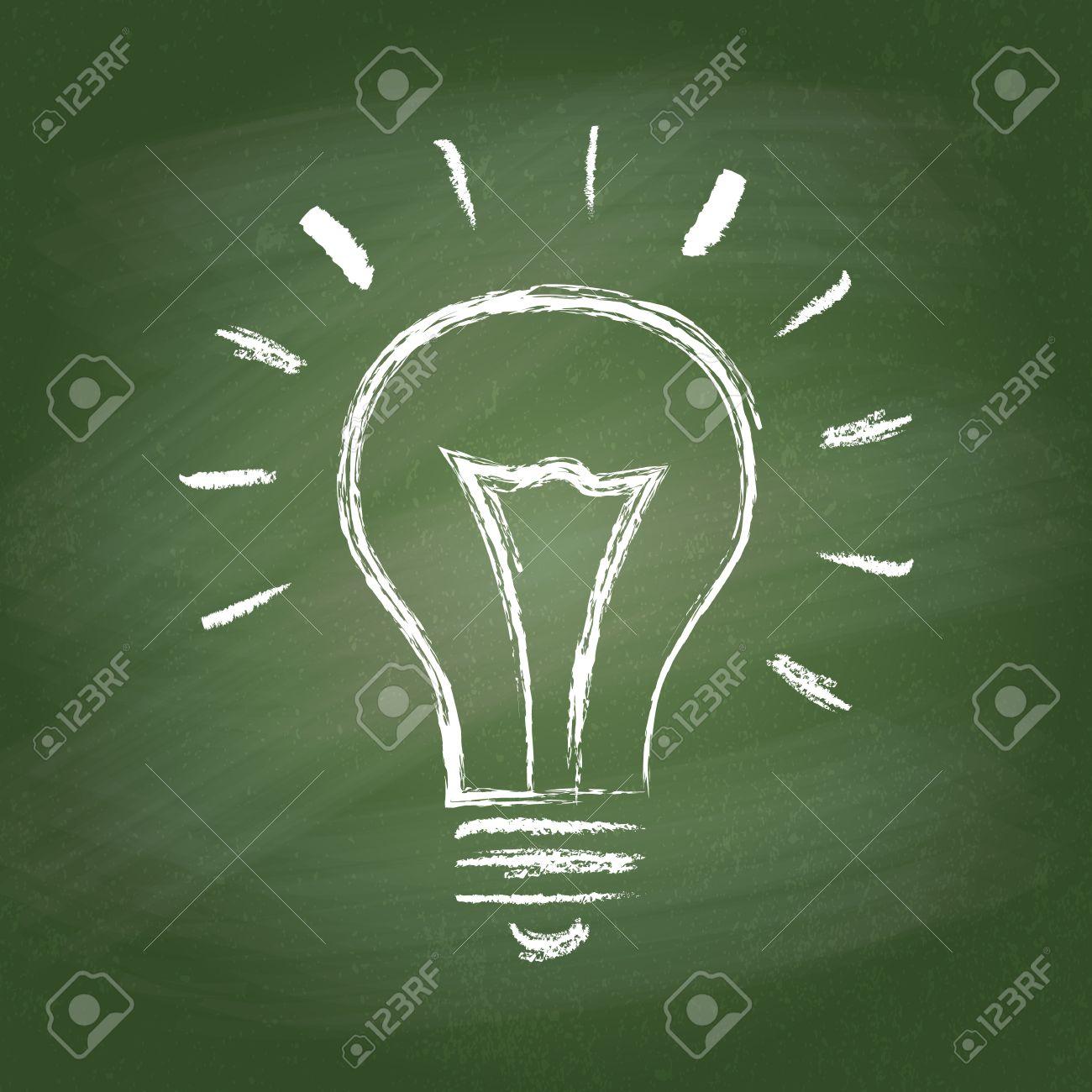 Light bulb vector idea icon on chalk board. Chalk hand-drawn graphic style. Realistic vector EPS10 illustration. - 38816218