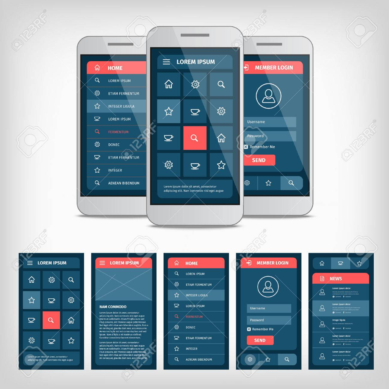 collection of modern flat design. Conception of mobile user interface - 39566745
