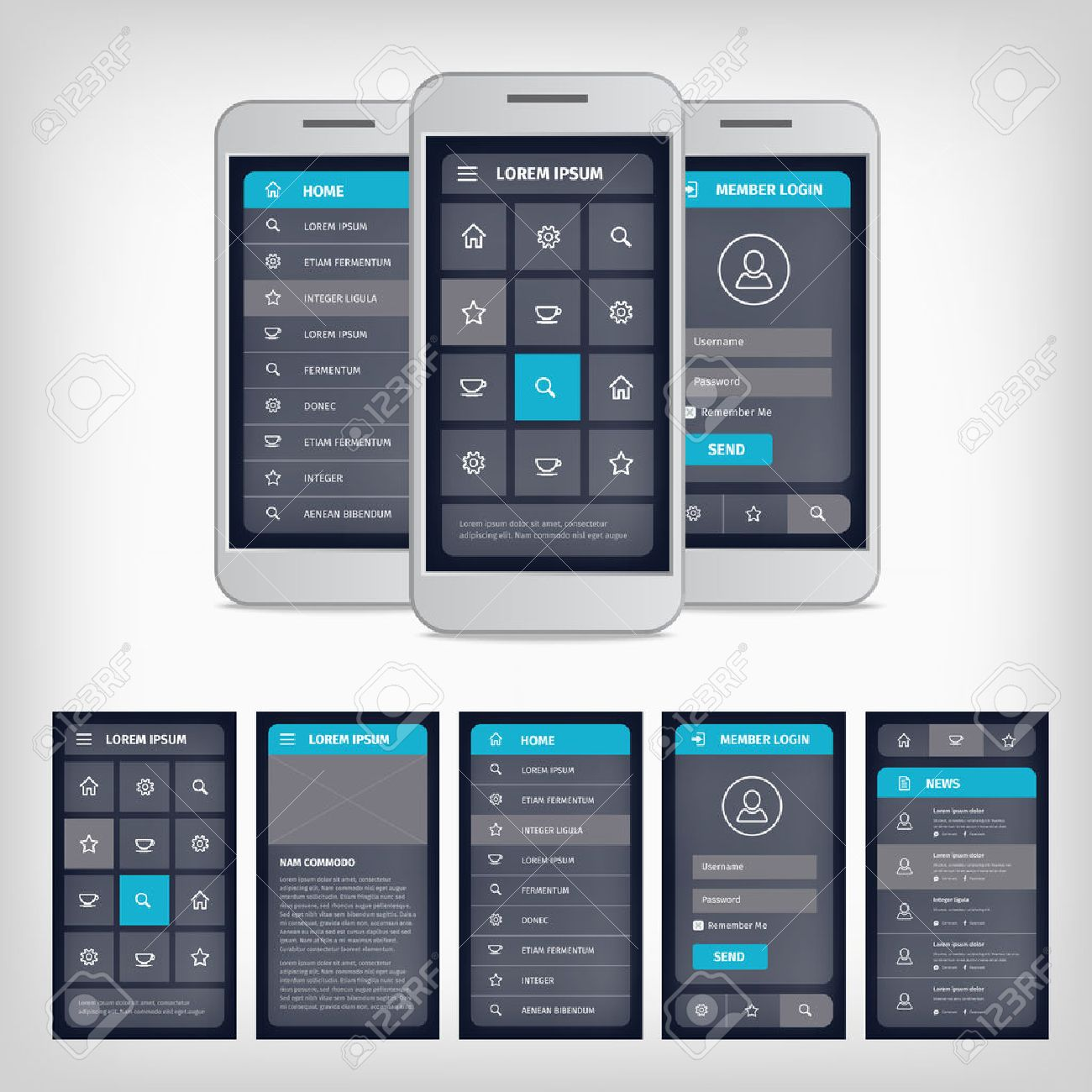 Vector Set Of Modern Flat Design Template Mobile User Interface - Mobile app design templates
