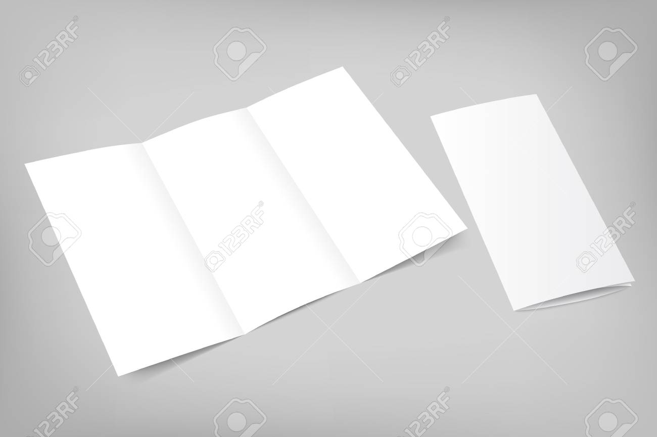 Blank tri fold flyer with cover on gray background. 3D illustration with soft shadows. Vector EPS10 illustration. - 42210977