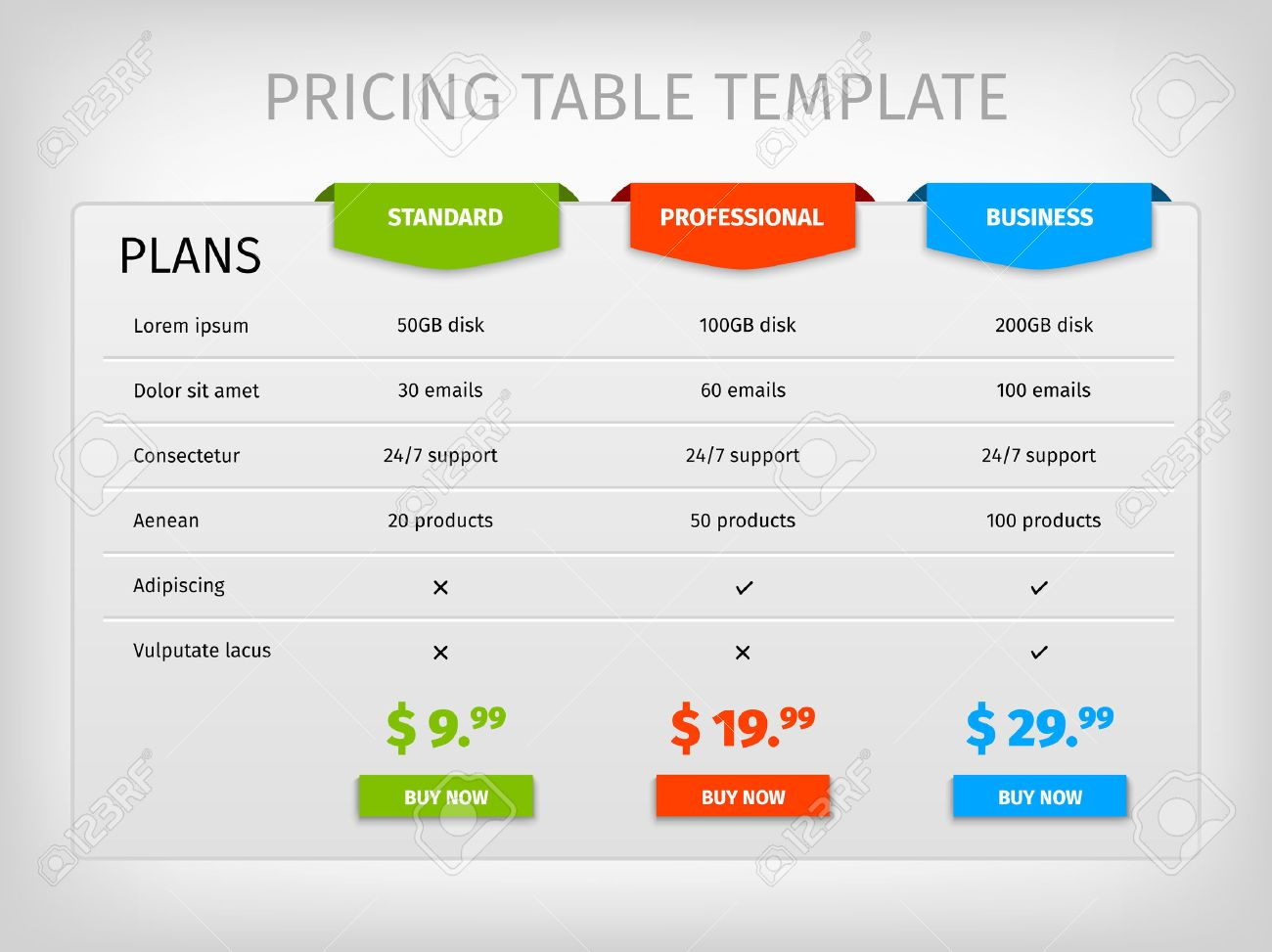 web pricing table template for business plan vector illustration colorful
