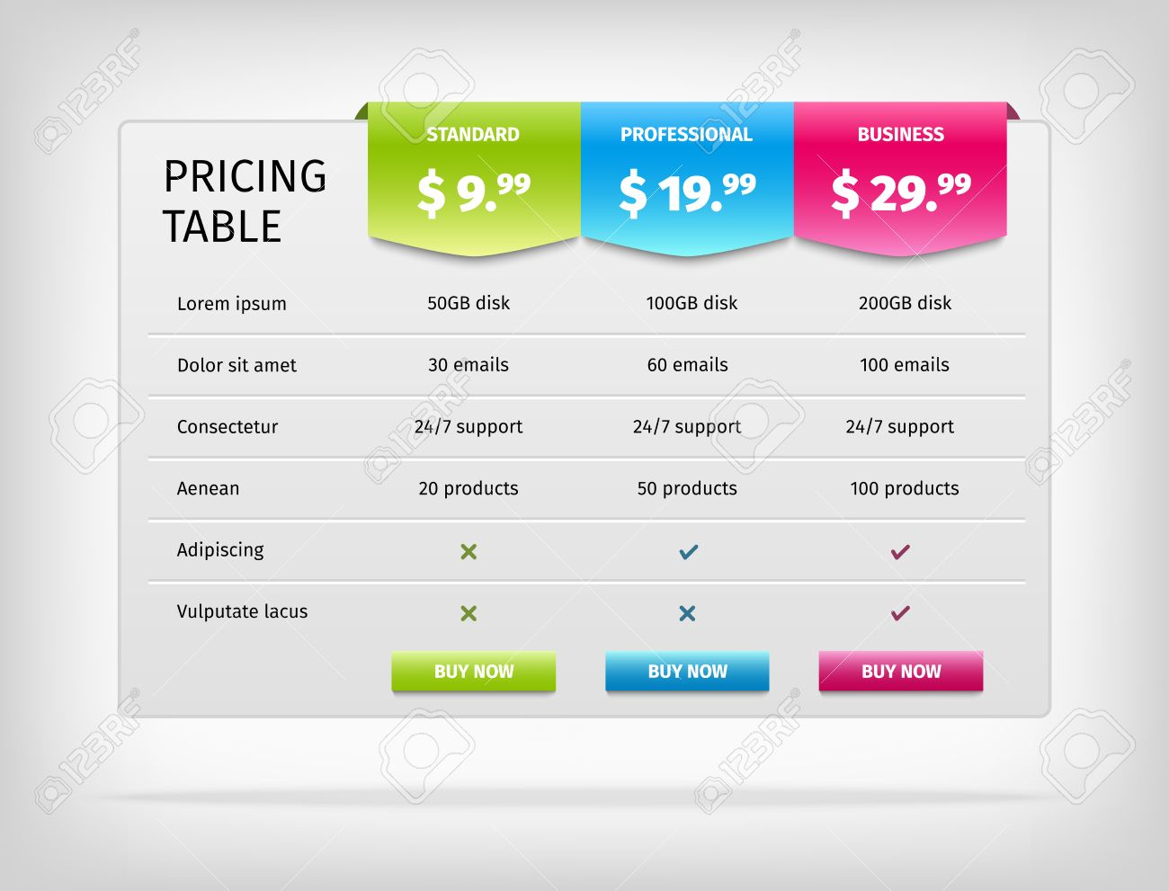 Pricing Table Template For Business Plan Comparison Chart Royalty