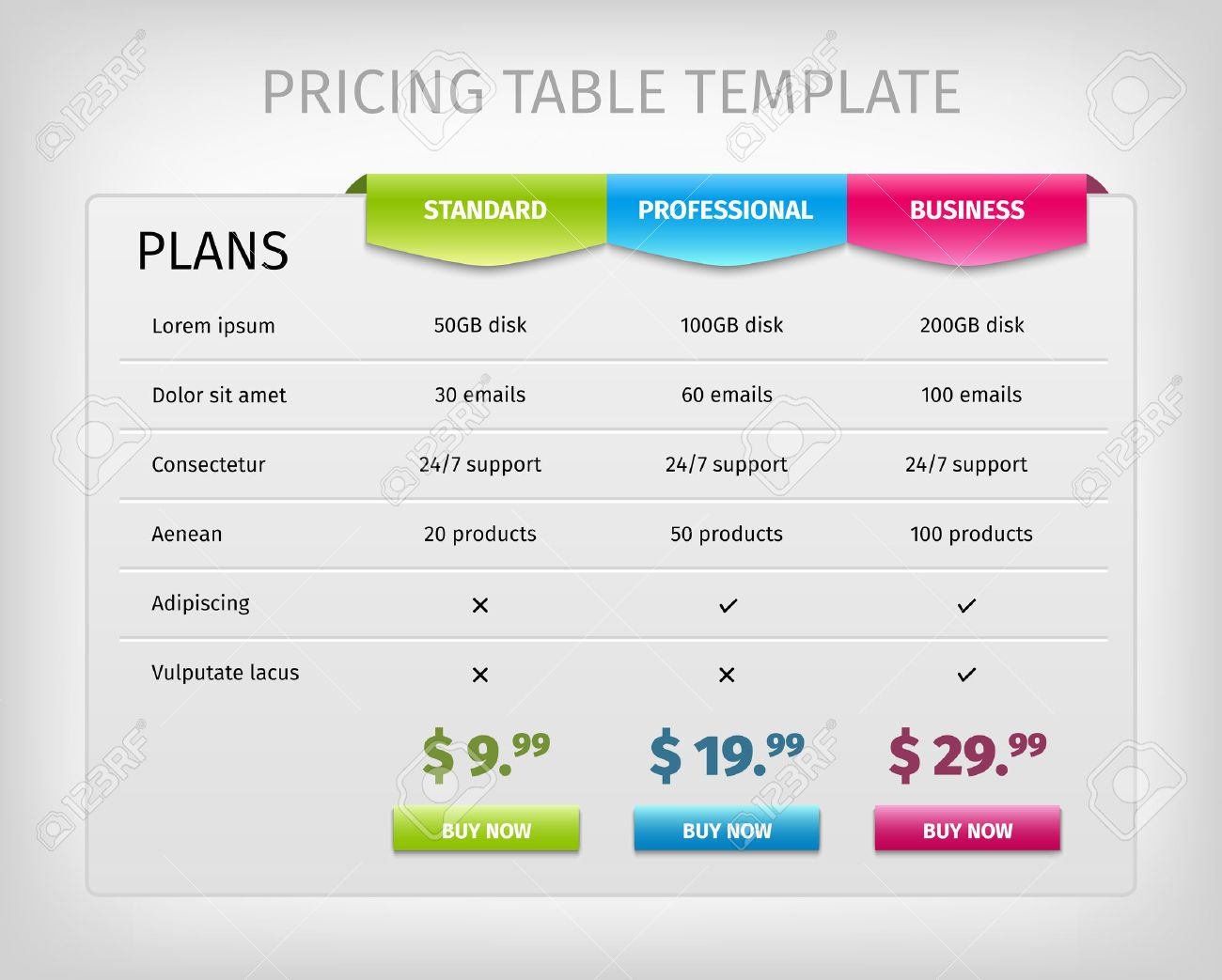 Web Pricing Table Template For Business Plan. Comparison Of Services.  Vector EPS10 Illustration.