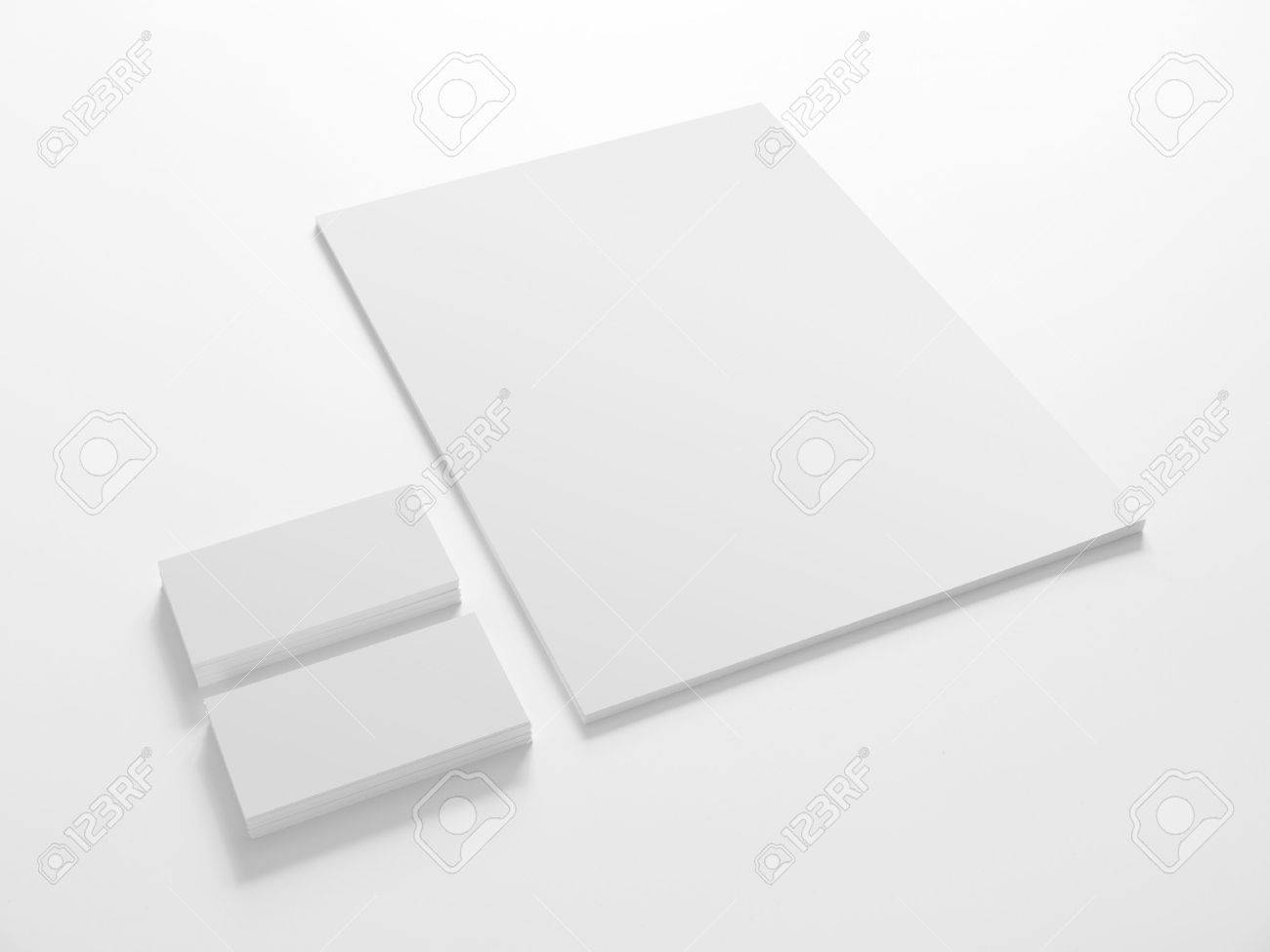 Business Cards And A Paper Isolated On White. Stationery Corporate ...
