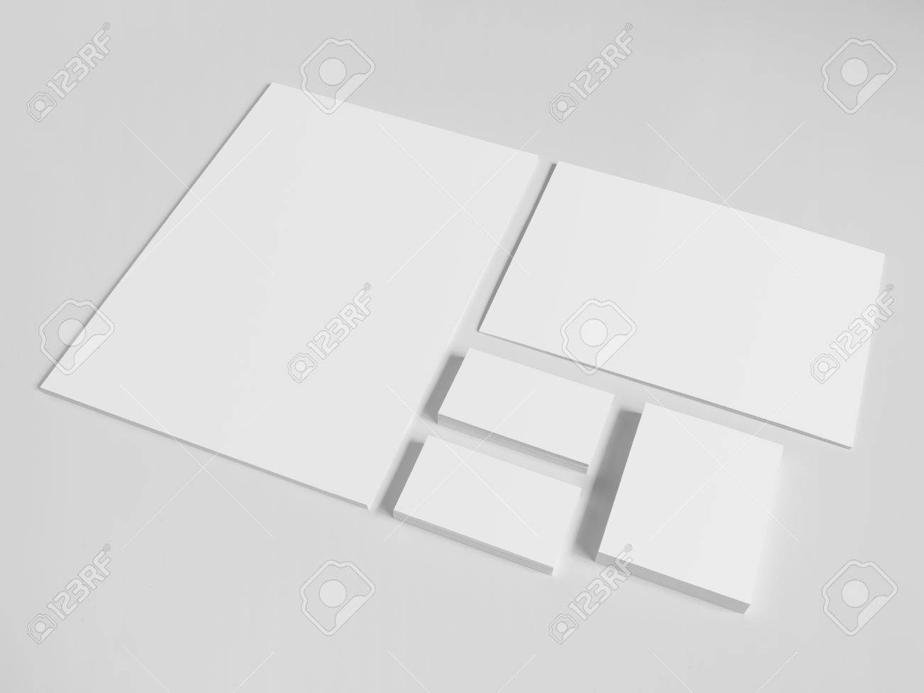Blank Business Cards With A Pile Of Papers And Envelopes. Mockup ...
