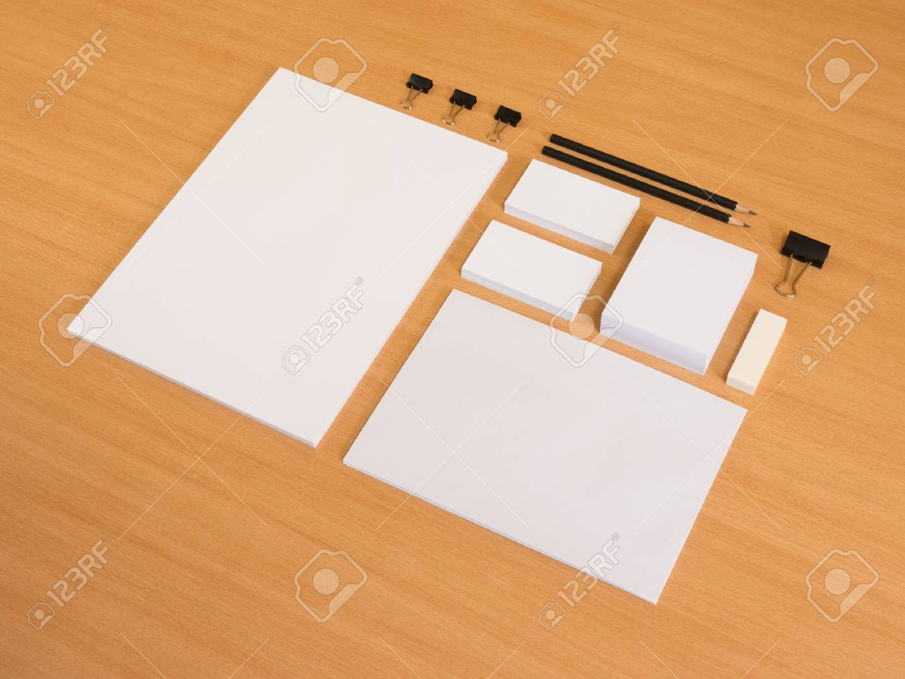 Blank stationery set on wood background a4 paper business cards blank stationery set on wood background a4 paper business cards envelopes stock photo reheart Gallery