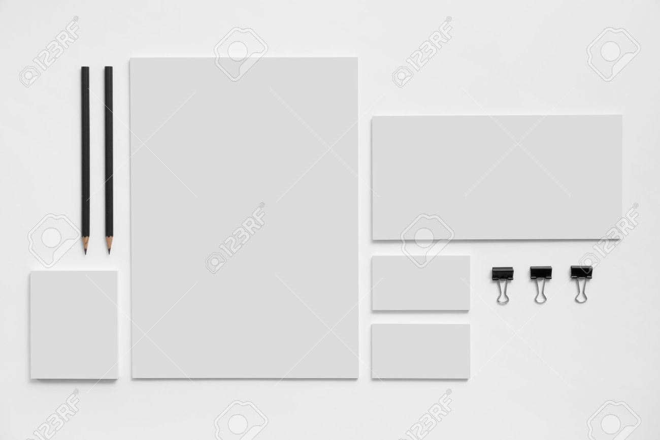 Blank branding mockup with gray business cards, envelopes and notepads isolated on white background. - 46510751