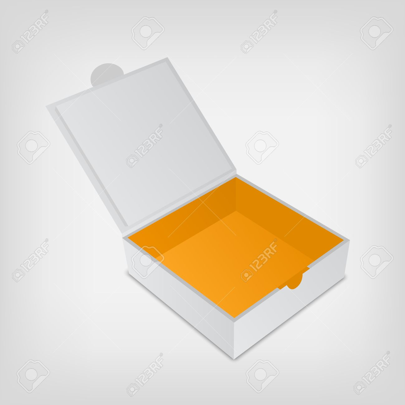 Open Packaging Design Box Mockup. Gray Square Shape And Orange ...