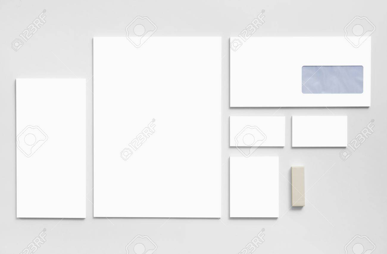 Branding Mockup Template With White Business Cards, Envelopes ...
