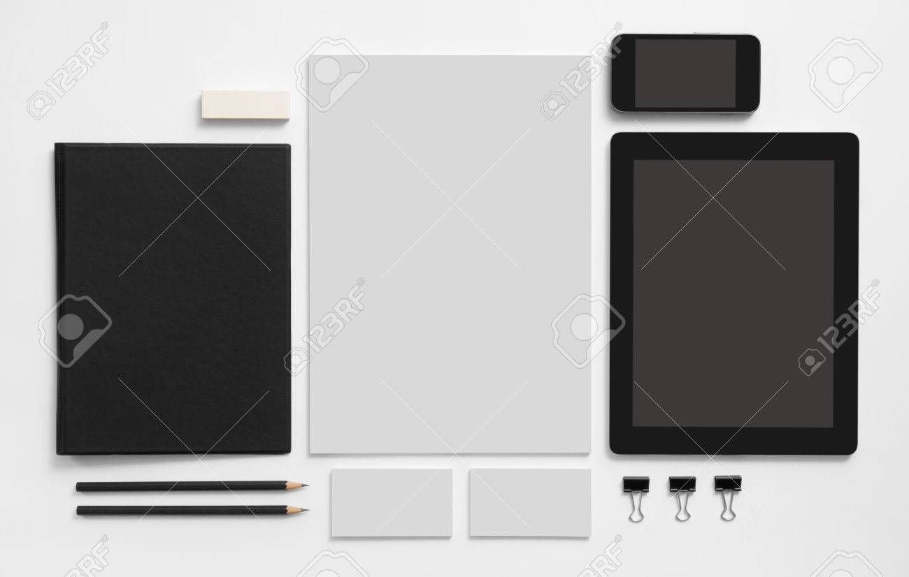 Branding mockup. Set of stationery with tablet and mobile phone. Black notepad, blank business cards ant letterhead. - 46526906