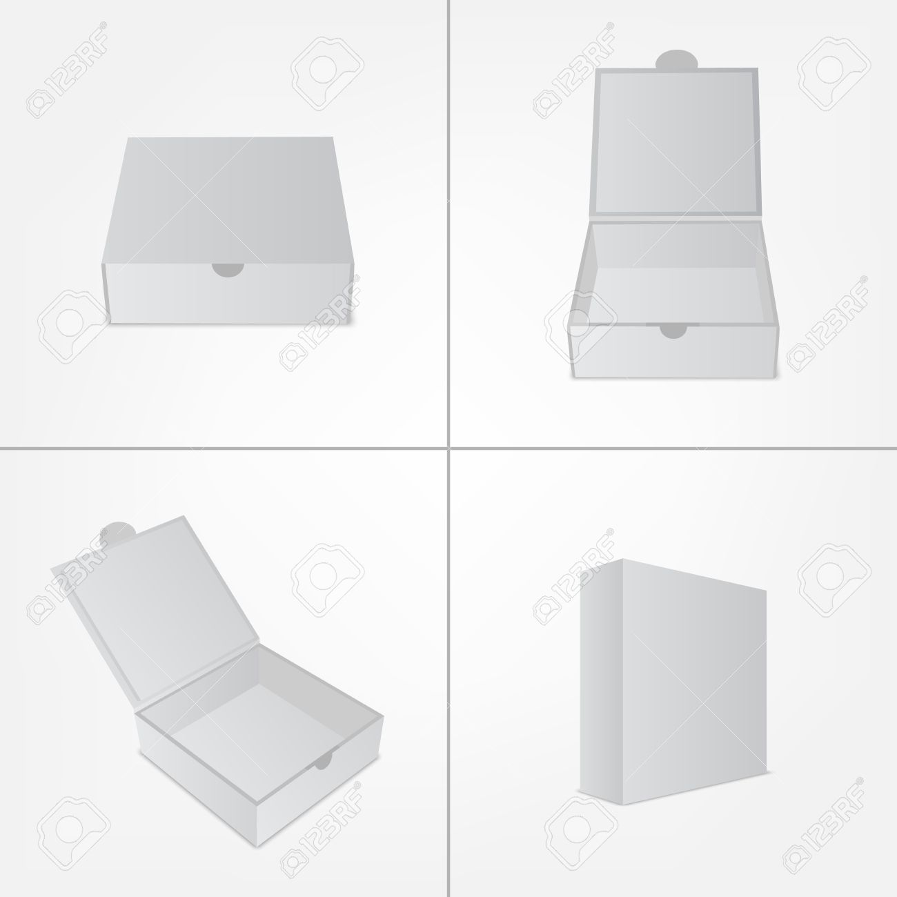 Set of packaging design box mockup. Gray square shape in four views. Mock-up template ready for your branding design. Vector EPS10 illustration. - 46526926