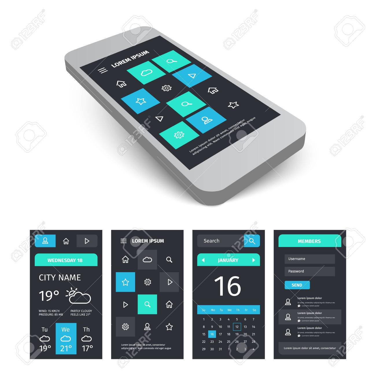 vector vector mobile user aplication interface template mobile app ui kit illustration with mockup