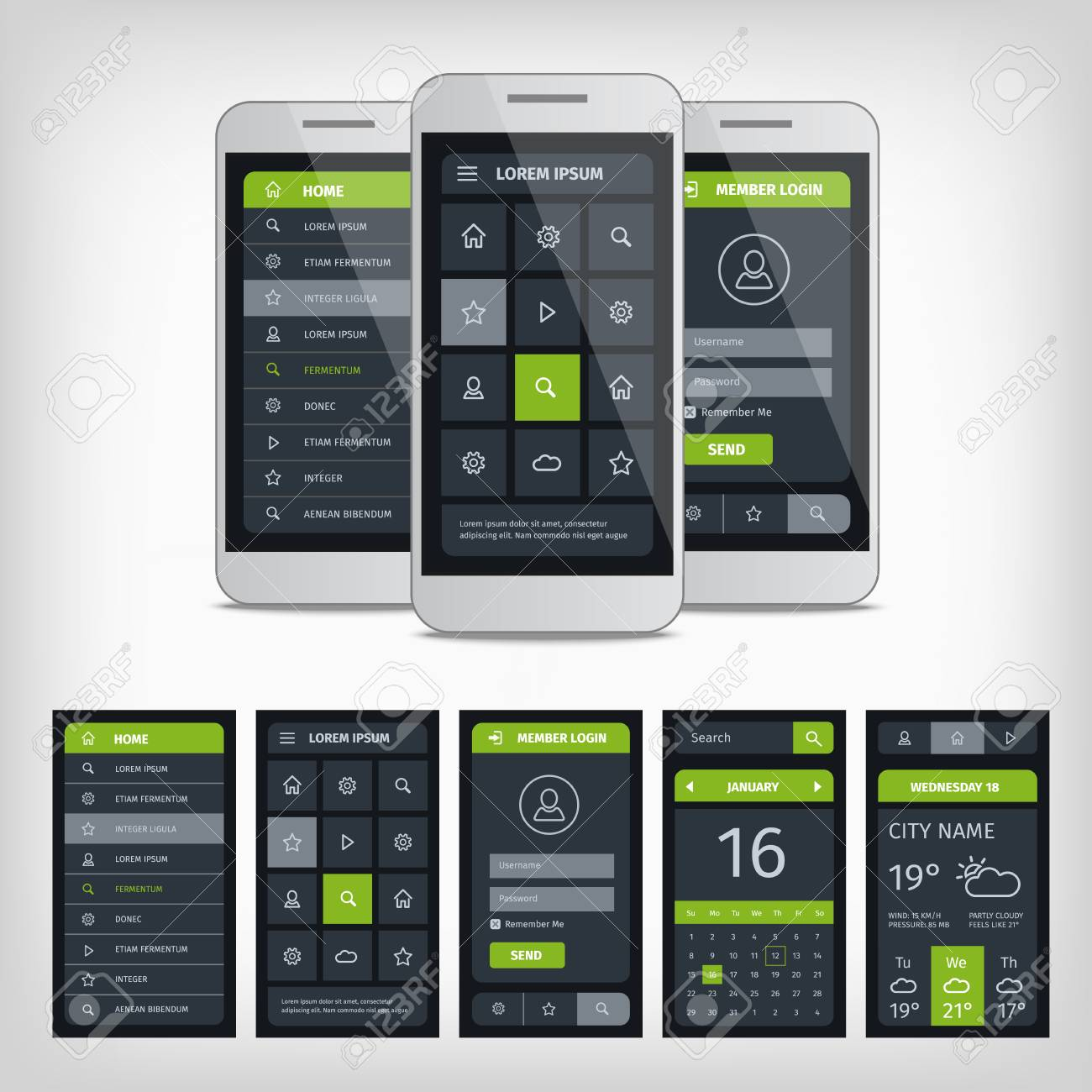 set of mobile user aplication interface template mobile app ui kit illustration with mockup