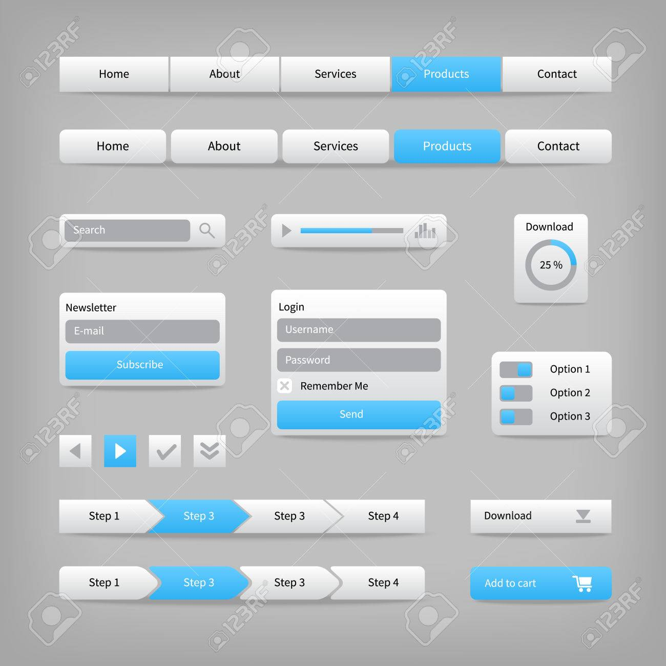 Web site elements with blue buttons on gray  Navigation menu