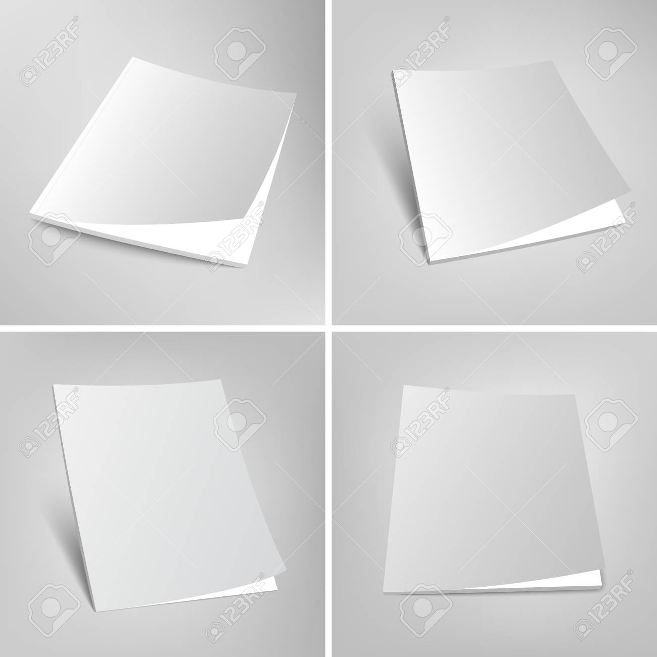 Blank Vector Illustration Of Magazines Set Of Empty Covers Template