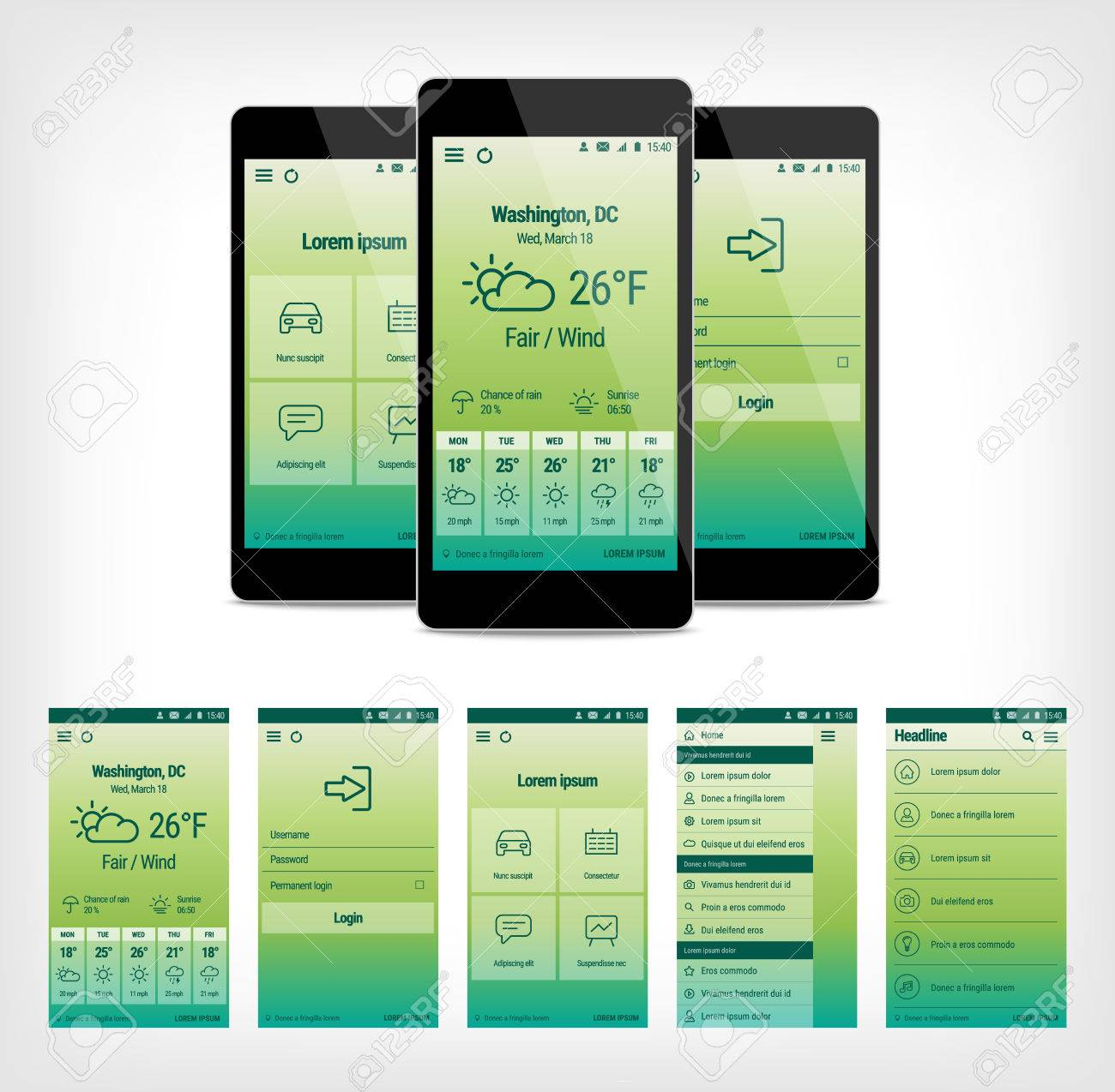 Set Of Modern Mobile User Interface Design Template Illustration - Mobile app design templates