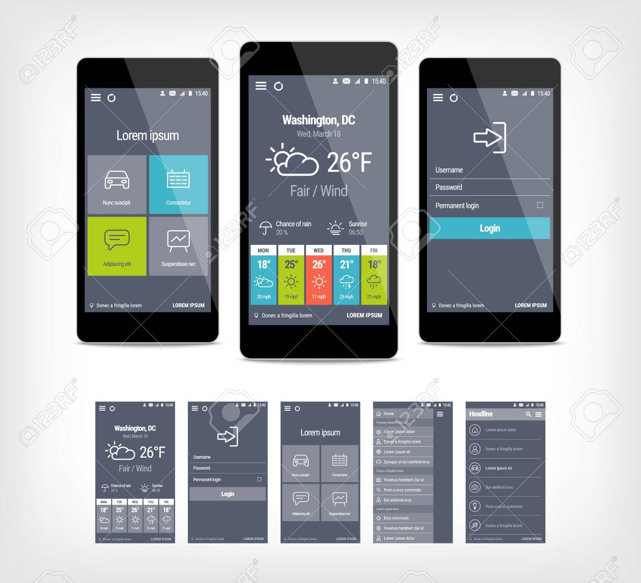 Mobile App Ui Set Of Modern Design Template For User Interface - Mobile app design templates