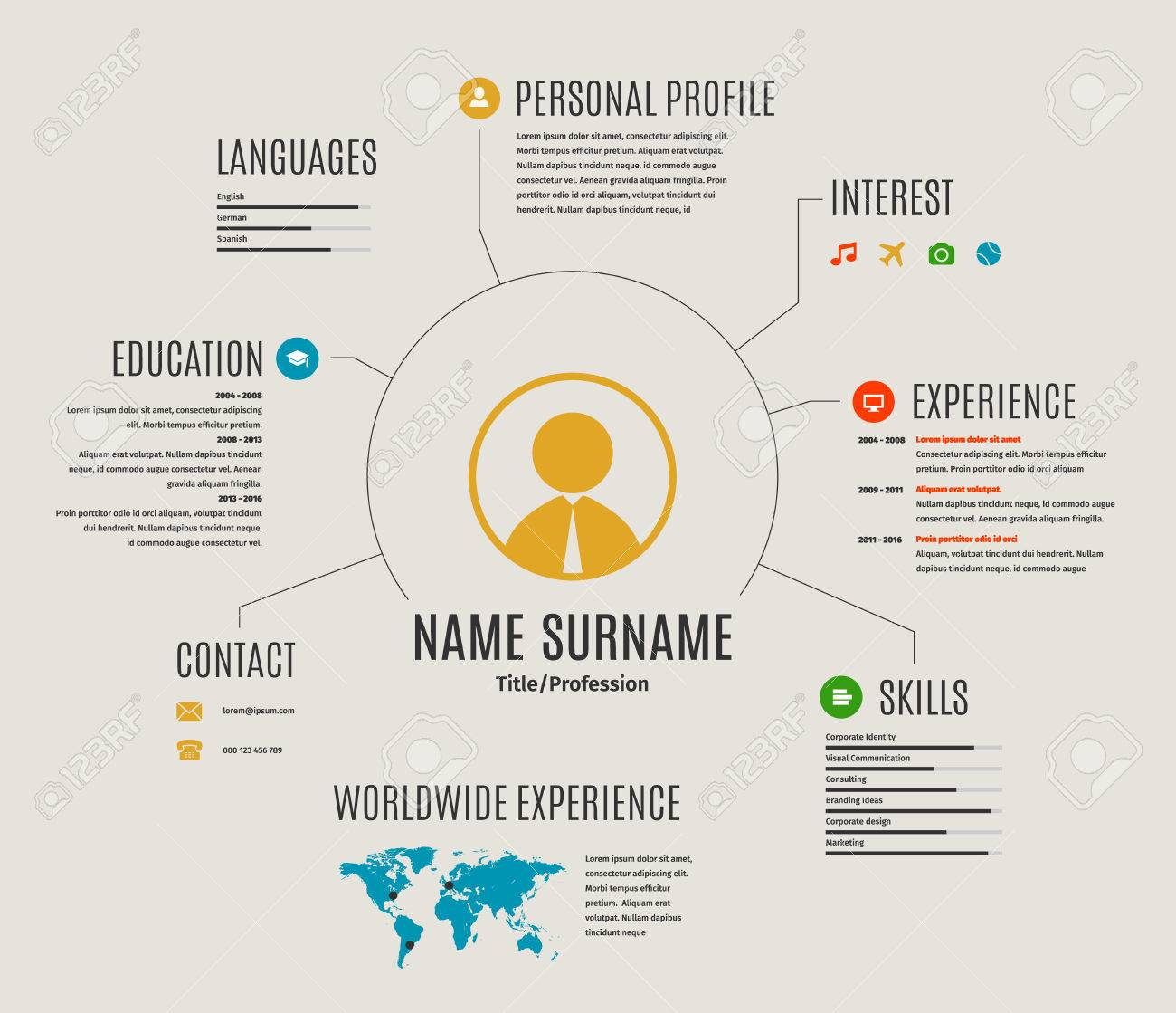 Resume Web Infographic Template Cv With World Map And Icons. Royalty ...