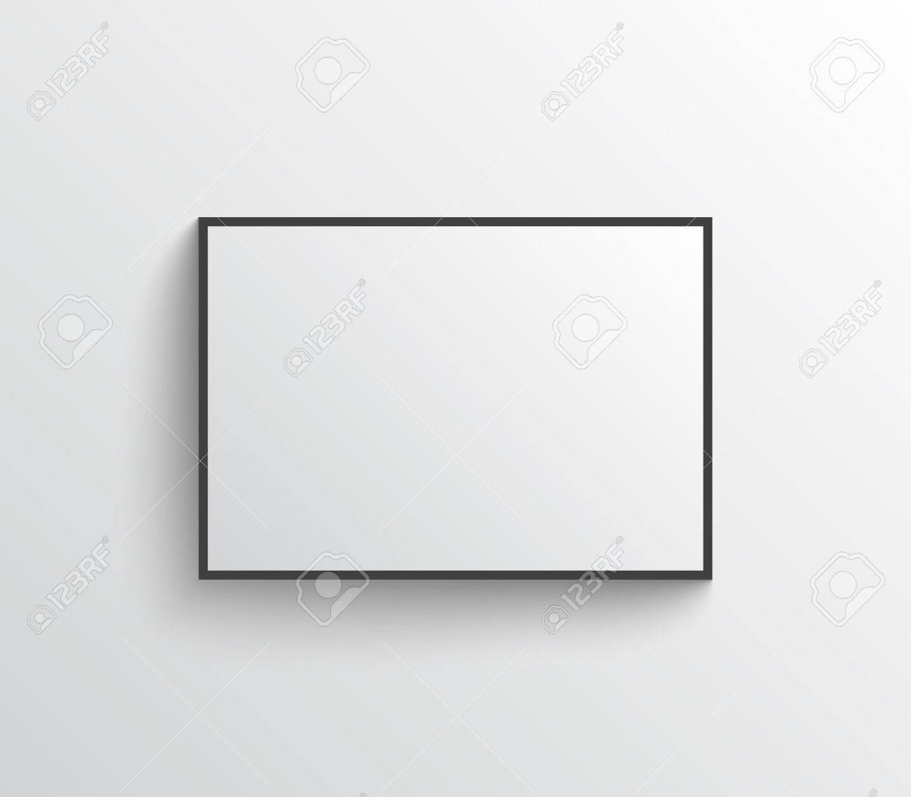 White Blank Poster With Black Frame On Grey Wall Shadows