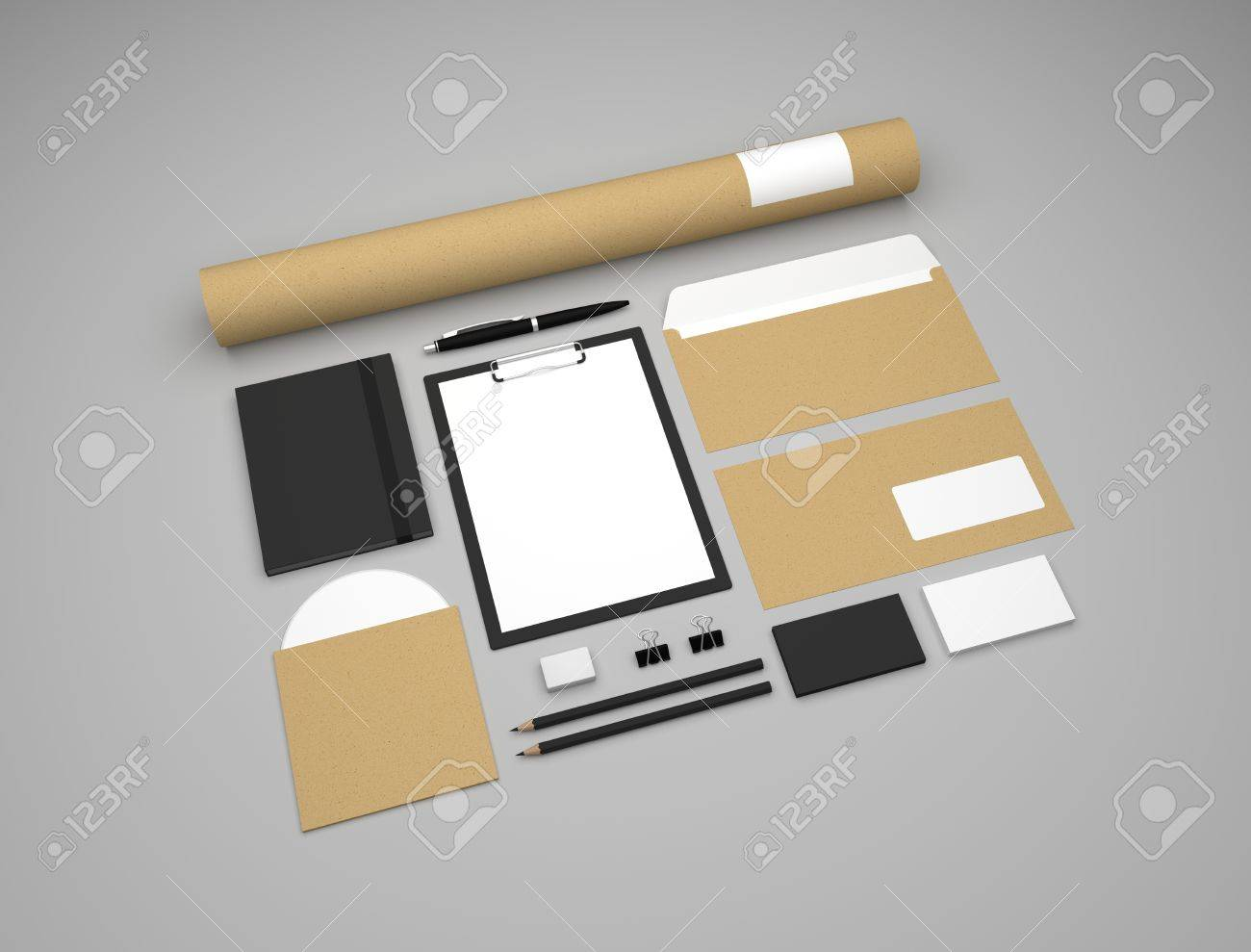 Set Of Branding Mockup Template With Recycled Paper White And Black On Gray Brand