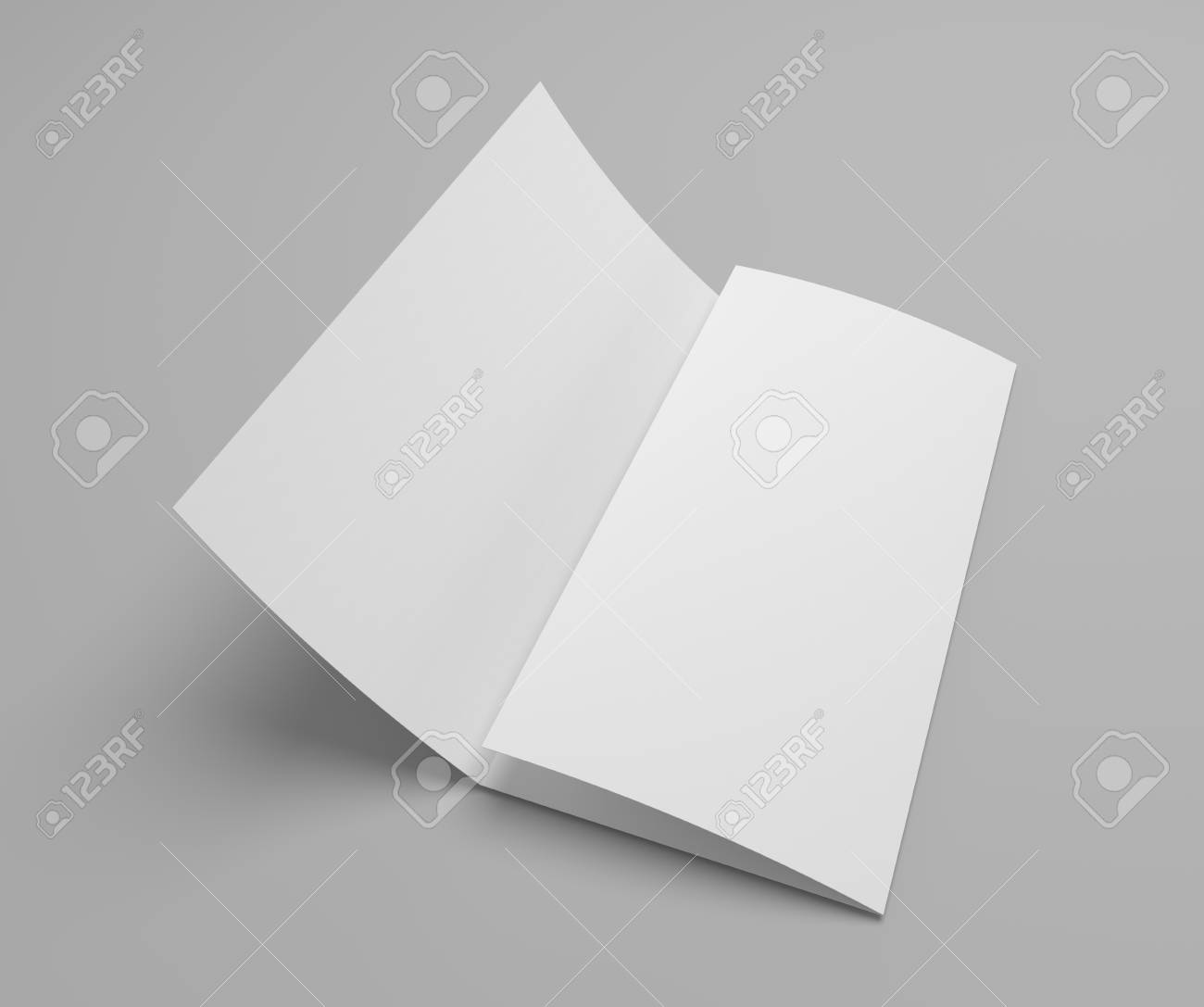 blank tri fold brochure mockup with opened page on gray with stock