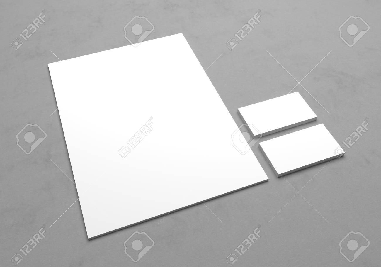 Blank a4 letterhead paper with business cards for logo presentation blank a4 letterhead paper with business cards for logo presentation 3d mock up illustration on colourmoves