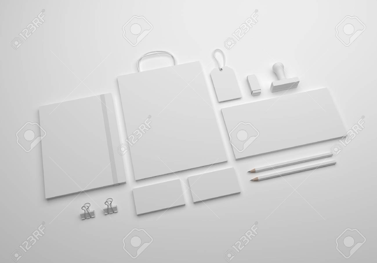 Maquette De Papeterie Avec Enveloppe Cartes Visite Sac