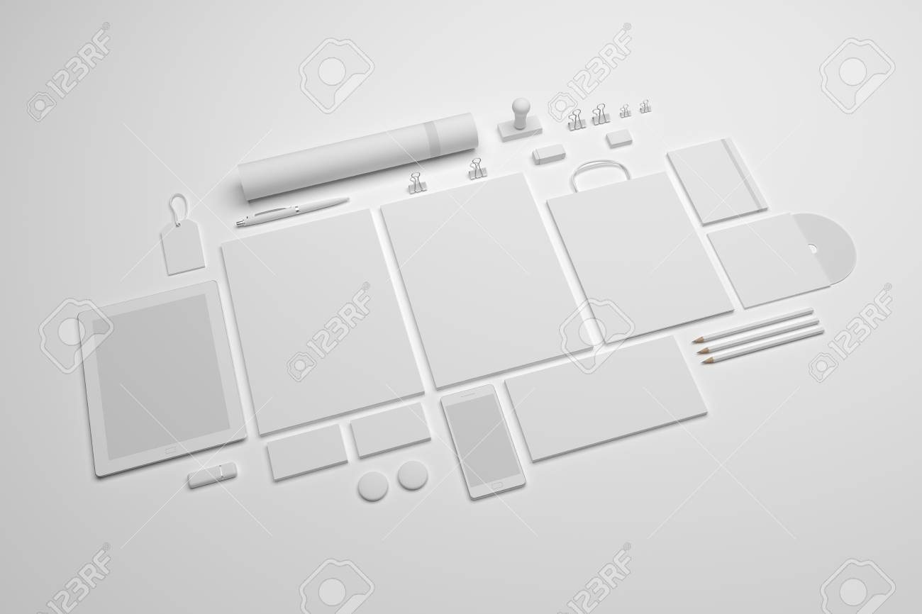 White Set Of Branding Mockup Template Stationery