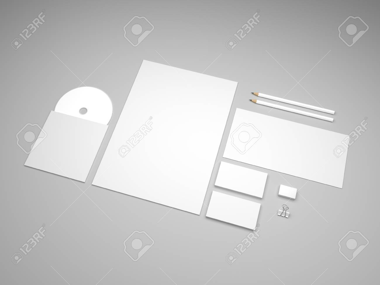 Stationery Mockup With Envelope, Business Cards And Letterhead ...