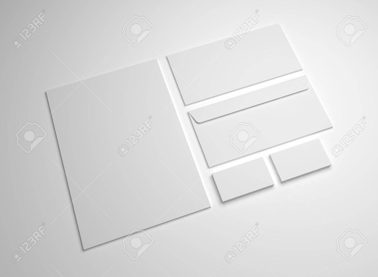 Stationery Mockup 3d Illustration. Blank White A4 Letter, Business ...