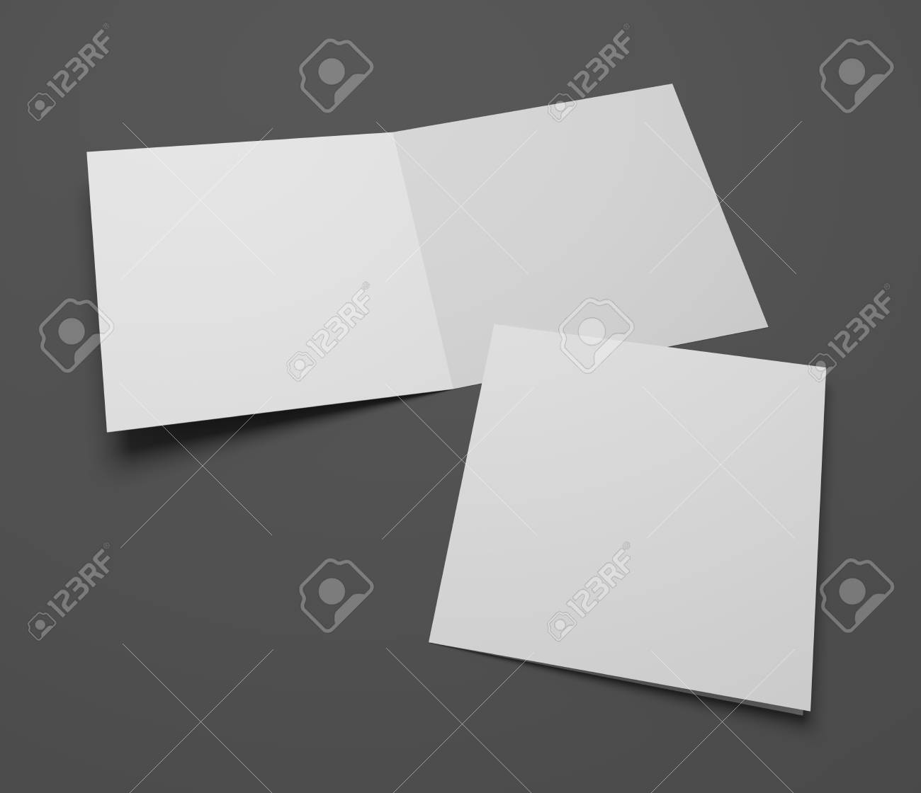 Blank Square Greeting Card Or Brochure Isolated On Dark Gray