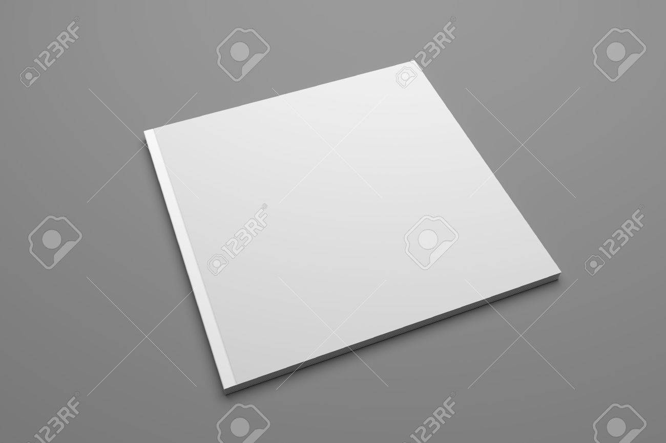 Blank square publication or brochure isolated on gray. 3D illustration mockup. - 67957772