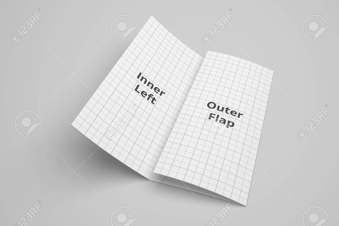 us letter tri fold brochure 3d illustration mockup with grid stock