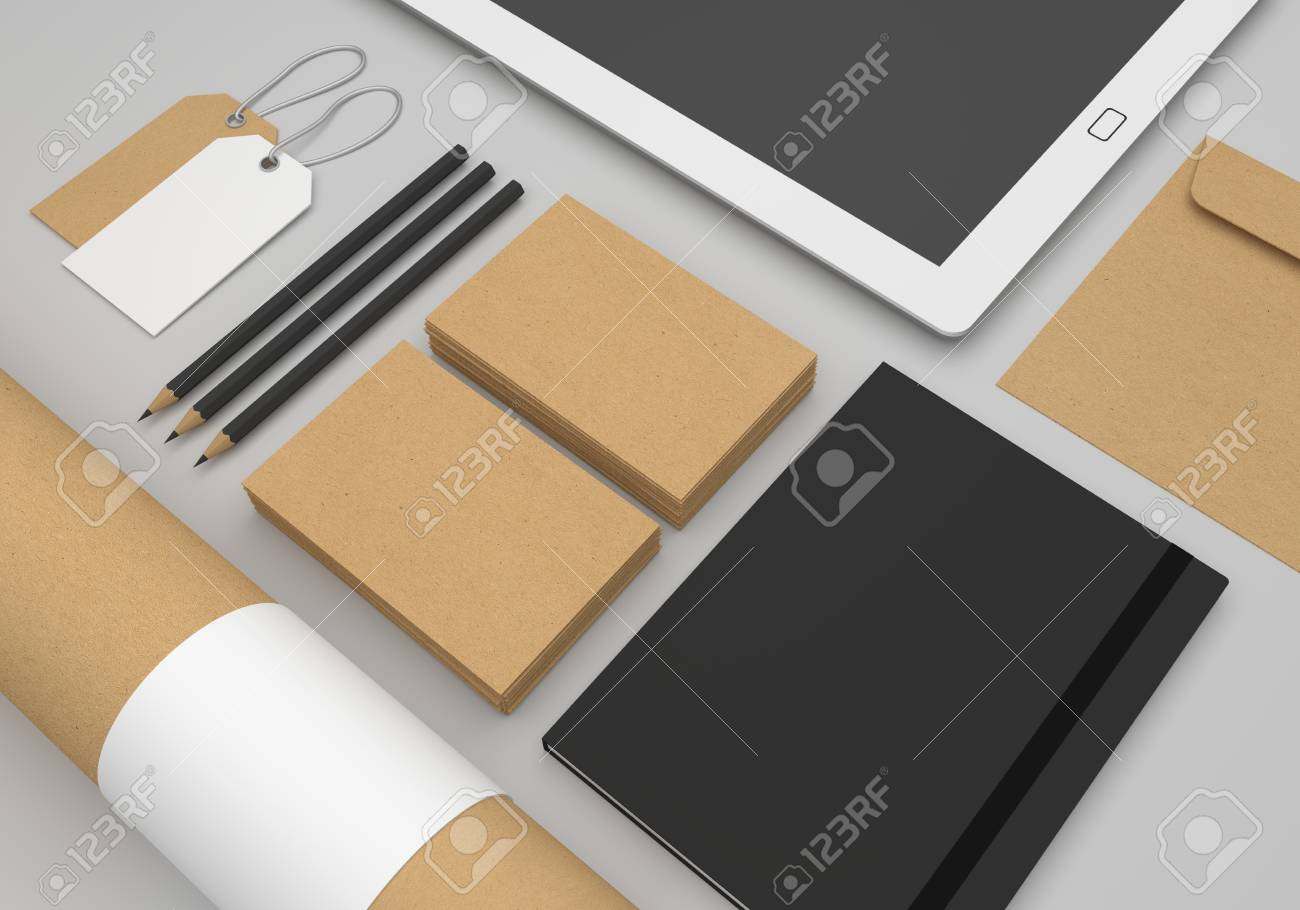Stationery 3d Illustration Mockup With Recycled Paper Business
