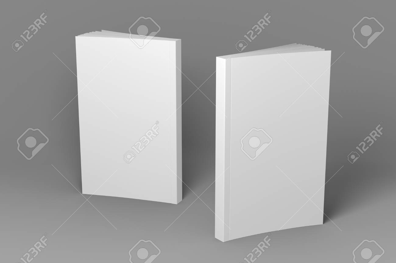 Two standing books. Presentation of front cover, spine and back cover. 3D illustration of mock-up template. - 115477304