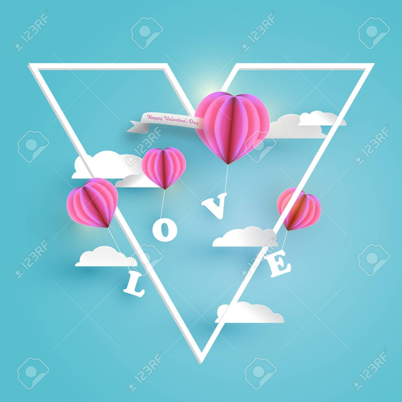Abstract Pink Heart Hot Air Balloons Carrying Love Letter In