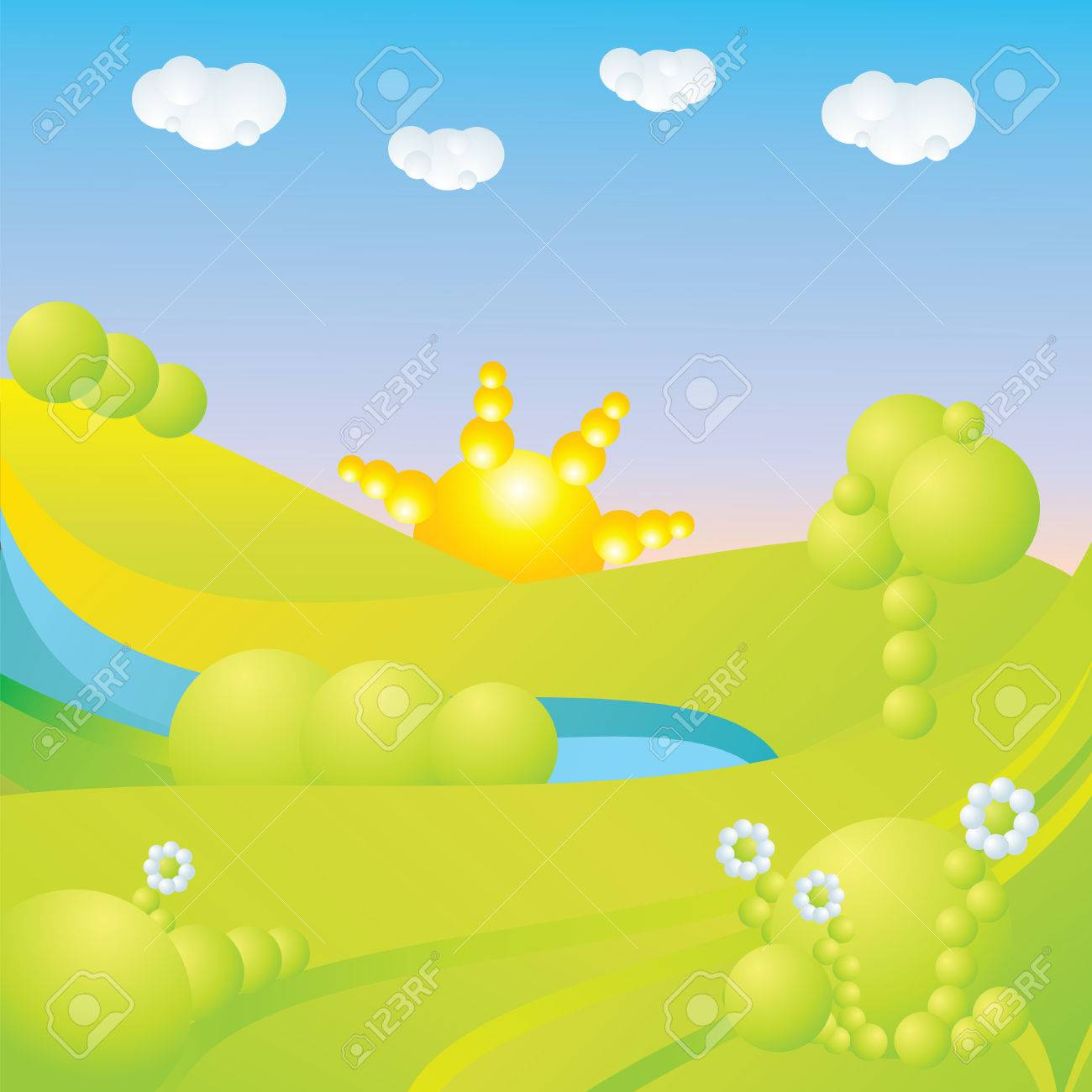 blue sky, green grass, trees, clouds, sun, water and flowers abstract landscape Stock Vector - 3068022
