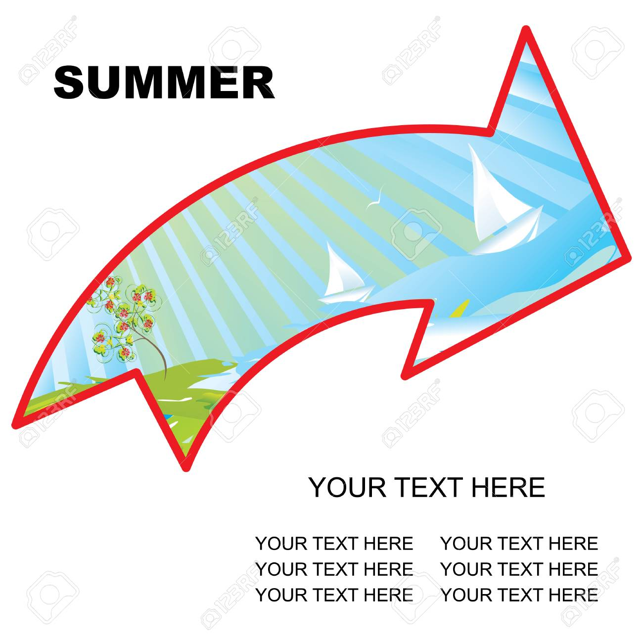 summer landscape arrow with copy space vector illustration Stock Vector - 3674922