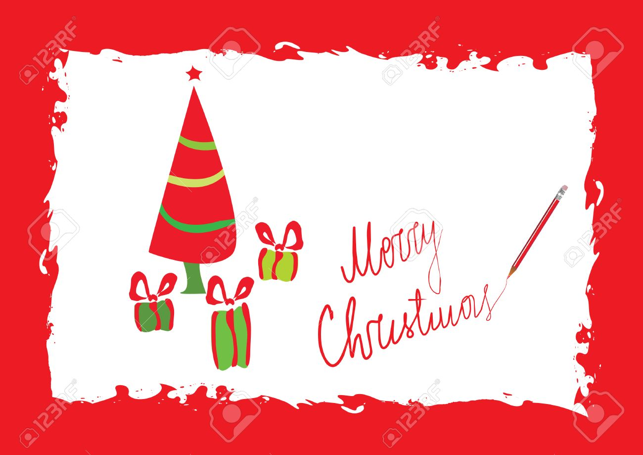 Merry Christmas Greeting Card Template, Vector Illustration ...